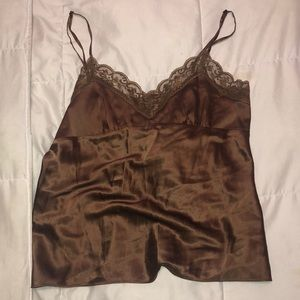 Vintage Brown Satin and Lace Cami
